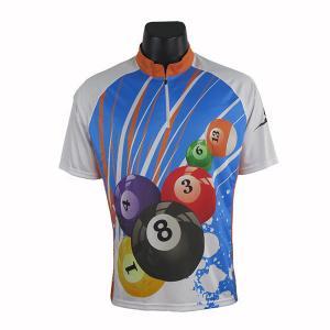 Cheap Free Design New Style Blue Custom Short Sleeve Billiards Pool Jersey For Men wholesale