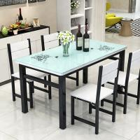 China White / Black Glass Top Dining Table Set With Solid Thick Desktop on sale