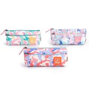 Cheap Custom Fabric Student Pencil Pouches 2 Pockets Zipper Closure Large Capacity wholesale