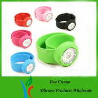 Cheap Pink / Purple / Red Silicone Snap Slap Wristband Watch With Hello Ketty face wholesale