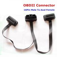 Cheap Flat+Thin As Noodle OBD2 16Pin ELM327 Male To Female Y Splitter Elbow Extension OBD2 Cable wholesale