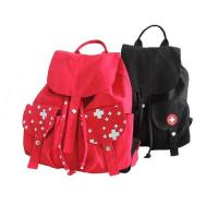 Cheap Red And Black Custom Logo Backpacks , Canvas Drawstring BagsWith Pull String wholesale