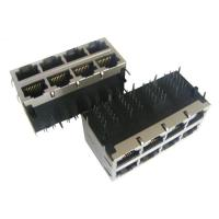 Cheap PC Card Surface Mount Stacked RJ45 Jack 10/100/1000M , POE Connector 2 X 4 Ports wholesale