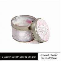 Cheap Small Soy Tealight Candles , Tin Can Candles Raspberry / Amber Fragrance wholesale