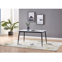 China Marble Material 90cm 50kgs Black Metal Leg Dining Table on sale