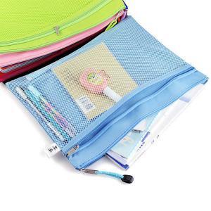 Cheap Double Layer Nylon Mesh Transparent Zipper Pencil Bags , File Document Bag wholesale
