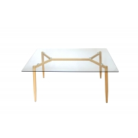 Cheap Clear 8mm Tempered Glass Top Dining Table With Y Shape Heat Transferred Legs wholesale