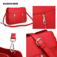 Cheap Red Cross Body Leather Hand Bags , Litchi Leather Natural Grain Girls Shoulder Bag wholesale