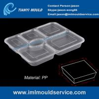 Cheap disposable easylunchboxes 6-compartment thin wall food containers mould with a clear lid wholesale