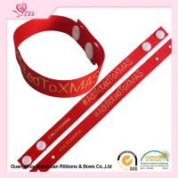 "Cheap 6/8"" Red Grossgrain Ribbon , Custom Printed Grosgrain Ribbon With Hot Stamping Logo For Apparel Hangtag for sale"