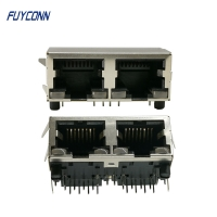 Cheap 2 Ports 16 Pin PCB Right Angle Female RJ45 Connector With PBT Insulator wholesale