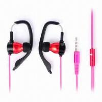 Cheap Earhook earphones, metal earbud, with mini mic, fit for iPhone, iPod wholesale