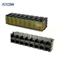 Cheap PCB 2x8 Ports 16*10P 160 Pin RJ45 Connector With Right Angle Terminal wholesale
