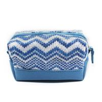 Cheap Custom Blue Women Jute Leather Zipper Cosmetic Bags With Compartments wholesale