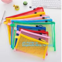 Cheap Office Stationery Mesh Bags With Slider Zipper, expanding file/folder/File cover/documents pouch carry bag wholesale