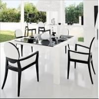 China Home featuring modernity tempered clear glass topped dining tables on sale