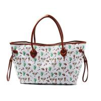Cheap Womens Printed Large Canvas And Leather Tote Bags With Compartments wholesale