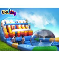 China Cartoon Blue Inflatable Water Slide Park / Amazing Inflatable Water Toys For Adults on sale