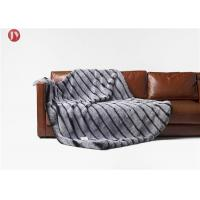 Cheap Anti - Winkle Animal faux Fur Throw Blankets Custom Black discharge White stripes With customized  Logo wholesale