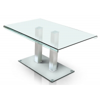 China Square Stainless Steel Legs 50kgs Contemporary Glass Dining Tables on sale
