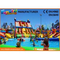 Cheap Outdoor Inflatable Water Parks Slide With Pool One Year Warranty wholesale