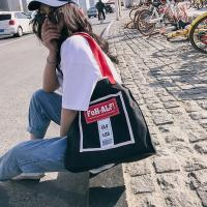 Cheap New Korean fashion personality school style contrast color canvas bag women's portable shoulder bag simple fashion bag wholesale
