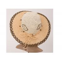 9cm Brown Paper String Packable Sun Hats For Women , Raffia Wide Brim Sun Hat