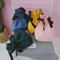 Cheap Factory direct sales tied bow single shoulder bag of pure color canvas art and art with water slant wholesale