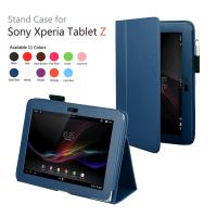Cheap 10.1 Inch Sony Tablet Leather Case For Xperia Z Color Dark Blue Dustproof wholesale