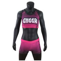 Cheap Custom Sublimation Girls Cheer Dance Clothes Crop And Shorts Pink Color wholesale