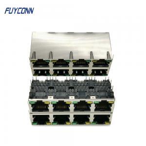 Cheap Phosphor Bronze 2x4 8 Ports 64 Pin Female PCB RJ45 Jack Connector wholesale