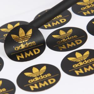 Cheap Custom Logo Hot Stamping Matte Black Adhesive Label Sticker Round wholesale