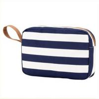 Cheap Printed Blue White Striped Canvas Women Storage Makeup Bags Cases wholesale