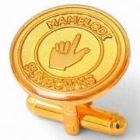 Cheap Epoxy Covered Mamelodi Sundowns Cufflinks with Metal Emblem in 1.5mm Copper and Logo Stamped wholesale