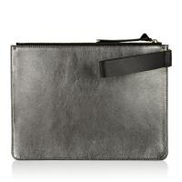 Cheap Metallic Leather Suede Leather Pouch Bag , Genuine Leather Wristlet Bag wholesale
