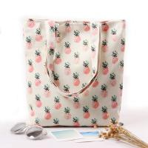 Cheap Cartoon Fruit Printed Custom Canvas Bags , Printed Promotional Bags wholesale
