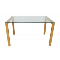 Buy cheap Clear OEM Tempered Glass Dining Table With 60x60mm Aluminum Plate from wholesalers