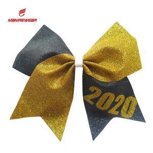 Cheap Golden And Grey Sparkle Football Cheer Bows / Vivid Birthday Cheer Bow wholesale