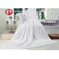 Cheap Super Soft Faux Fur Throw Blanket , white bright Plush Striped Embossed Faux Fur Mink Throw wholesale