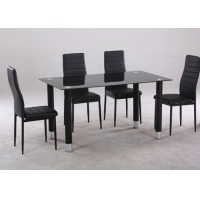 Cheap Rectangle Modern Style Chinese Glass Dining Table And 4 Chairs wholesale