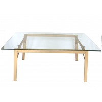 Cheap Simple Rectangular Rust Resistant Dining Table Tempered Glass Top wholesale