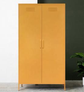 Cheap 1.0mm Steel Storage Cabinet Bedroom Clothes 2 Door Metal Wardrobe wholesale