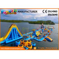 Cheap High Durability Floating Inflatable Water Park Blue And Yellow Color wholesale