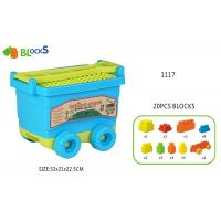 "Cheap 17 ""  Building Blocks Toys For Toddlers Movable Wagon 32 Pcs Blue Pink Big Wheel wholesale"