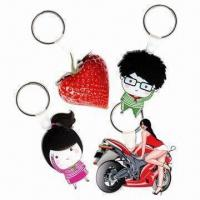 Cheap 3mm Transparent Acrylic Keytags with Laser Cut and CMYK/W/CMYK Printing, Measures 6 x 6cm wholesale