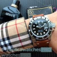 Cheap High Quality Replica Rolex Submariner Black Dial Brown Leather Strap Men
