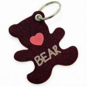 Cheap Cute Bear-shape Keychain, Measures 6 x 7cm, Made of 3mm Felt Material wholesale
