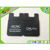 Cheap 1C Printed Logo Silicone Card Holder Eco-friendly Durable Black wholesale