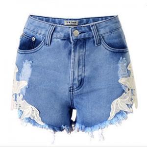 Cheap Short Denim pants for women with lace wholesale