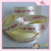 Luster Surface Yellow Polyester  Custom Printed Ribbon With Red Print logo  5 / 8''